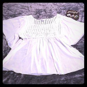 Dress Barn White Crochet Top